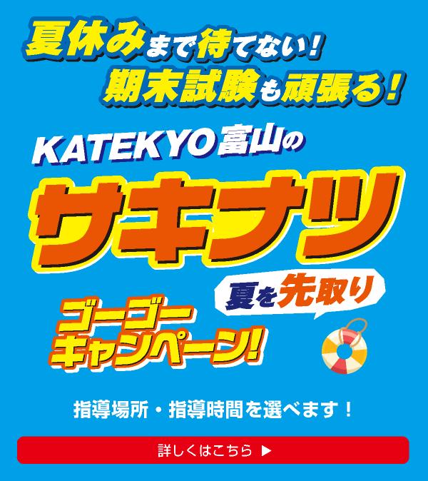 KATEKYOが本気で考えた「最も効率的で、最もお得な夏期講習」内申点UP!推薦狙い!期末テストから始める!KATEKYOの「夏を先取り夏期講習!略してサキナツ」