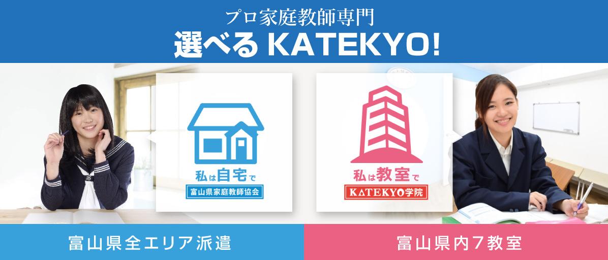 プロ家庭教師専門 富山県全エリア派遣 選べるKATEKYO 自宅なら富山県家庭教師協会 教室で個別指導なら KATEKYO学院